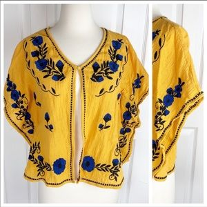 THML S BOHO Butterfly Cape Embroidered Top Blouse